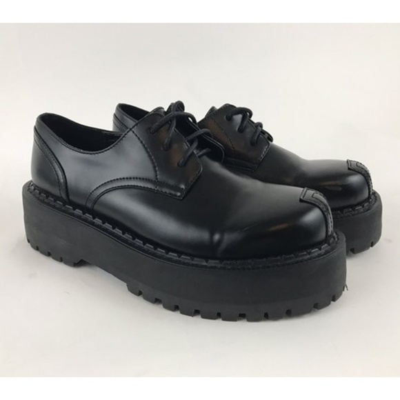 Black Platform Oxford Punk Goth 75
